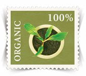 Label For Various Organic Products Ads Stylized As Post Stamp