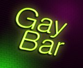 stock photo of clientele  - Illustration depicting an illuminated neon sign with a gay bar concept - JPG