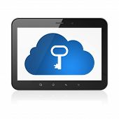 Cloud networking concept: Cloud With Key on tablet pc computer