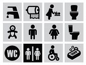 image of gents  - vector black man woman restroom icons set on gray - JPG