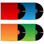 Set Of Vinyl Plates In The Varicoloured Packing On A White Background
