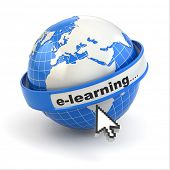 E-learning. Earth and mouse cursor on white background. 3d