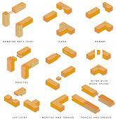 stock photo of joint  - / Wooden joints. The Butt Joint is an easy woodworking joint. The eight basic types of joints are: butt, dado, rabbet, lap, dovetail, mortise and tendon, miter, and tongue and groove - JPG