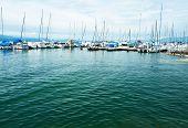 Yachts at Ouchy port marina, Lake Geneva, Lausanne, Switzerland