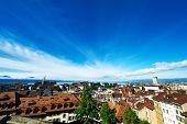 Skyline of Lausanne (Losanna) city, Switzerland.