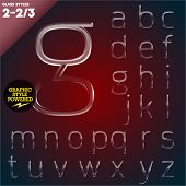 Vector illustration of Glass font powered graphic styles. Set 2-2