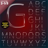 Vector illustration of Glass font powered graphic styles. Set 2-1