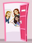 Illustration of a Group of Teenage Girls Having a Welcome Party