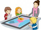 Illustration of a Teacher Watching Over Kids Using an Interactive Surface Table