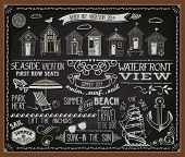 Chalkboard Poster for Beach Huts - Blackboard advertisement for summer vacation and beach huts, with