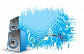 stock photo of lien  - 3d speaker on retro wave lien background - JPG