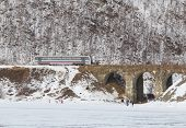 Rail bus on Circum-Baikal Railway in winter