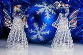 Two Glass Angel And Christmas Tree Tinsel