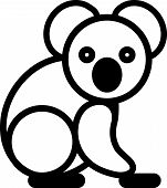 image of koalas  - Cute simple black and white koala for icon - JPG