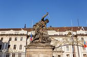 View Of Statue Behind Prague Castle