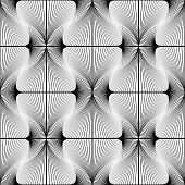 Striped Diamond Geometric Pattern. Abstract Monochrome Waving Lines Background