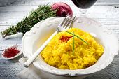 picture of saffron  - saffron rice on dish - JPG