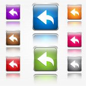 Replay Sign Round Corner Vector Web Icon Button Set