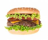 foto of hamburger  - Delicious hamburger on white background - JPG