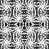 Design Seamless Uncolored Vortex Twisting Pattern. Abstract Decorative Striped Textured Background