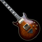 foto of ibanez  - Old Ibanez rock guitar isolated on black - JPG