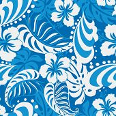 stock photo of hibiscus  - Hibiscus abstract floral design in a seamless pattern - JPG