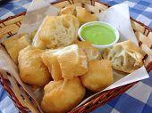 Closed Up The Deep-fried Dough Stick With Pandanus Leaf Jam
