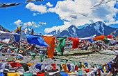 Oil Painting Stylized Photo Of Tibetan Praying Flags Blown By The Wind With High Himalayas In The Ba