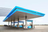 image of truck-stop  - Gas refuel station with blue roof close - JPG