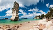 stock photo of pumice stone  - Beautiful Te Hoho Rock at Cathedral Cove Marine Reserve - JPG