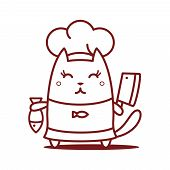 Character Chef In A Chef's Hat Line Art