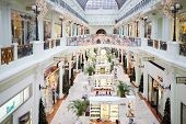 MOSCOW, RUSSIA - DEC 1, 2013: Interior of Petrovsky Passage with Christmas decorations. Petrovsky Passage opening happened in 1906.