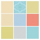 Seamless Colorful geometric minimalistic subtle background patterns.