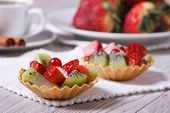 Fruit Tartlets With Strawberries And Kiwi Closeup