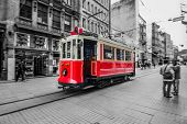 stock photo of railroad car  - Trams passing through Istiklal street - JPG