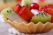 Tartlets With Strawberries, Kiwi And Cranberries Macro