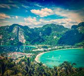 picture of koh phi-phi  - Vintage retro hipster style travel image of Travel vacation background  - JPG
