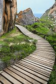 Wood Walkway And Rocks At Coast