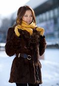 Looking girl. The girl in the furs. Portrait.