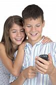 Girl & Boy Close Looking Mobile Phone