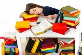 Young Girl Fell Asleep On Heap Of Colored Books On White Background
