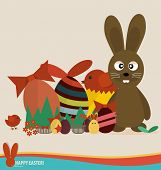 Happy easter cards with easter eggs, cute rabbit, ribbon. Concept holiday spring cartoon collection.