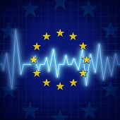 stock photo of lifeline  - Europe crisis concept and European union challenges symbol with an ECG or EKG monitor lifeline over a flag icon as a metaphor for political relationships and economic health issues.