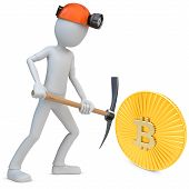 image of mines  - 3d man miner mining golden Bitcoin coin on white background - JPG