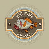 Bar signboard with fish, vector illustration