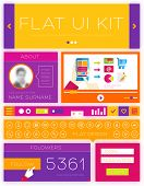 Flat Design Interface Elements Kit. Template for Web Site. Thin Line Icons Set. Video Service, Frame