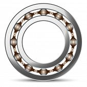 Illustration of ball bearings on a white background.