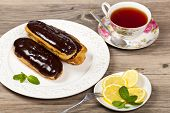 Homemade eclairs with cream