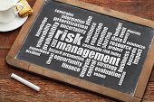 risk management word cloud on a slate blackboard with a cup of coffee