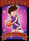 cartoon basketball player slam dunk